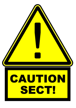 Warning sign with exclamation point and CAUTION SECT text. Isolated. 3D Illustration
