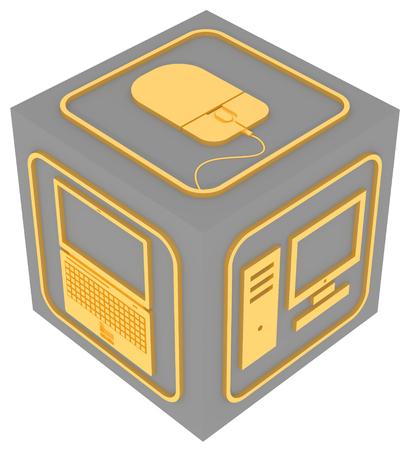 Cube with symbols of computer equipment Фото со стока