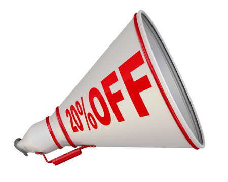 White megaphone with red text 20% OFF. Isolated. 3D Illustration 版權商用圖片