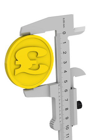 Caliper measures the golden coin with the symbol of the British Pound Sterling. Financial concept. Isolated. 3D Illustration