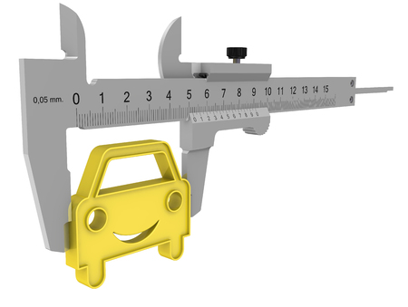 Caliper measures the golden symbol of the car. Isolated. 3D Illustration Stock Illustration - 118051094