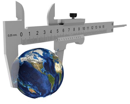 Caliper measures the globe. Isolated. 3D Illustration