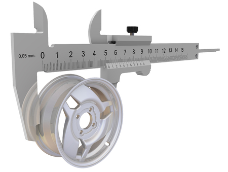 Caliper measures the car disk. Isolated. 3D Illustration