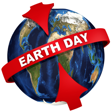 Red arrows emphasize the white text EARTH DAY on the globe background. Earth day are held on 22nd april. Isolated. 3D Illustration