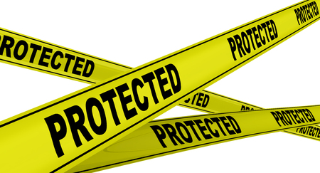 Protected. Yellow warning tapes Stock Photo