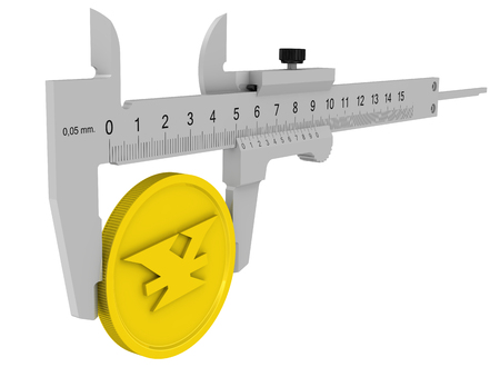 Caliper measures the golden coin with the symbol of the Chinese currency (yuan). Financial concept. Isolated. 3D Illustration 免版税图像