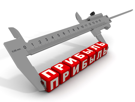 Caliper measures the word PROFIT (Russian language) composed from red cubes labeled by letters. Financial concept. Isolated. 3D Illustration Stock Photo