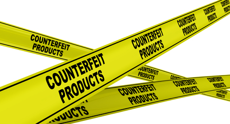 Yellow warning tapes with black text COUNTERFEIT PRODUCTS. Isolated. 3D Illustration
