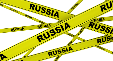 Russia. Labeled yellow warning tapes