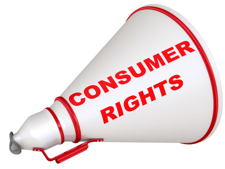 Consumer rights. The labeled megaphone Banco de Imagens