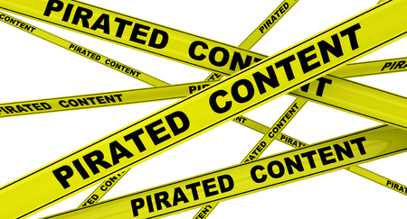 Pirated content. Labeled yellow warning tapes