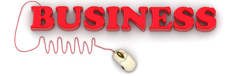 The red Business word connected to computer mouse on white background. Isolated. 3D Illustration