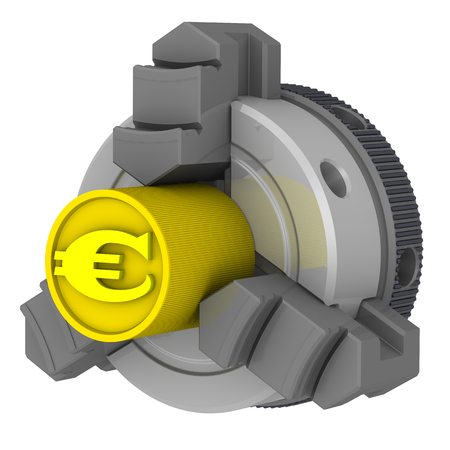 Euro in lathe chuck Reklamní fotografie