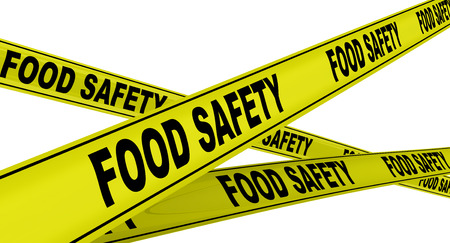 Food safety. Labeled yellow warning tapes