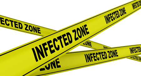 Infected zone. Labeled yellow warning tapes