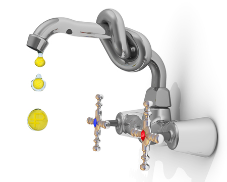 Falling drops from a water tap with golden Russian coins (gold coins with symbol of Russian currency - ruble). Isolated. 3D Illustration