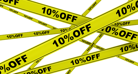 Discount of ten percent. Labeled yellow warning tapes Stock Photo