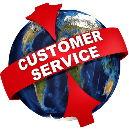 Red arrows emphasize the inscription CUSTOMER SERVICE on the background of the globe. 3D Illustration