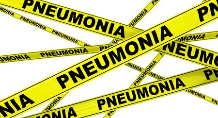 Pneumonia. Yellow warning tapes Stock Photo
