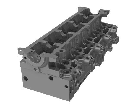 One gray cylinder head of an internal combustion engine isolated on white background. Isolated. 3D Illustration