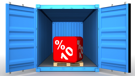Cargo container with ten percentage discount