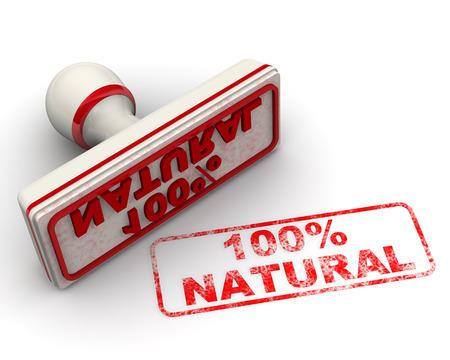 Hundred percent natural. Seal and imprint