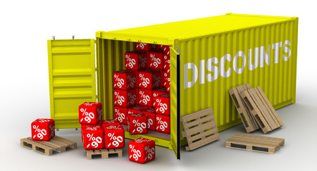 Container with ninety percentage discounts Standard-Bild - 124623709