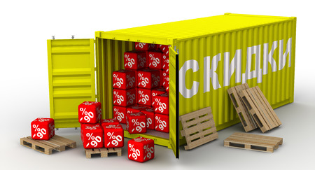 Container with ninety percentage discounts Standard-Bild - 124623707