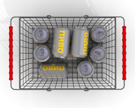 Beer in a grocery basket Standard-Bild - 124623722