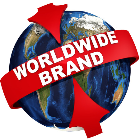 Worldwide brand. Red arrows emphasize the white text WORLDWIDE BRAND