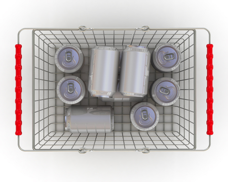 Aluminum cans in the grocery basket