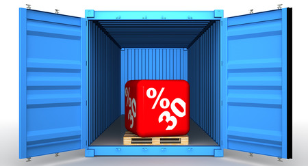 Cargo container with thirty percentage discount Standard-Bild - 124623259