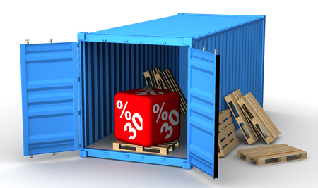 Cargo container with thirty percentage discount Reklamní fotografie