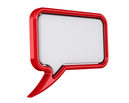 Blank red glossy comics speech bubble isolated on white background