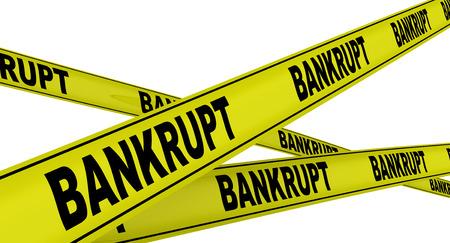 Bankrupt. Yellow warning tapes Stock Photo