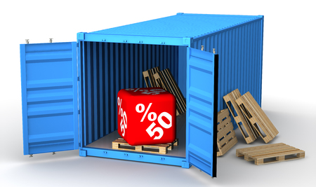 Cargo container with fifty percentage discount