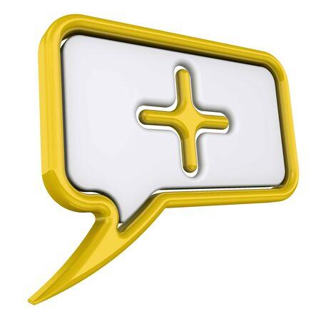 Volumetric yellow speech bubble with plus symbol