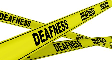Deafness. Yellow warning tapes Stock Photo