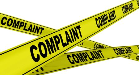 Complaint. Yellow warning tapes Stock Photo