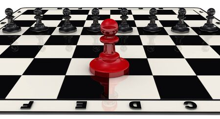 Leadership concept. Pawns on a chess field