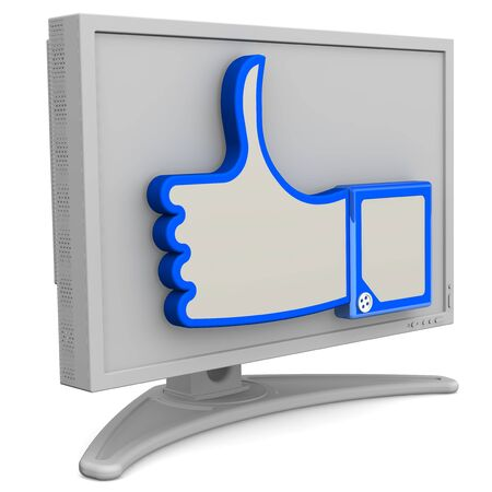 Monitor with thumb up sign