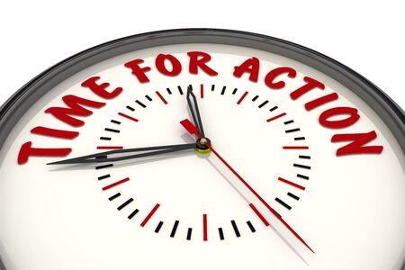 Time for action. Clock with text