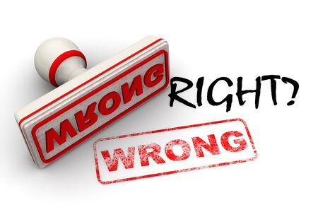 Is it right? No, it is wrong. Seal and imprint Stok Fotoğraf