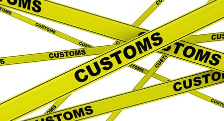 Customs. Yellow signal tapes Stock Photo
