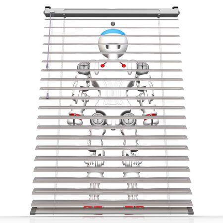 Hidden cyborg stands behind ajar blinds