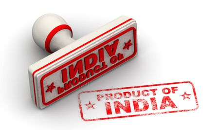 Product of India. Seal and imprint Stockfoto