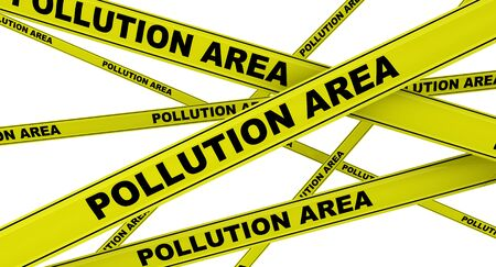 Pollution area. Yellow signal tapes Stock Photo