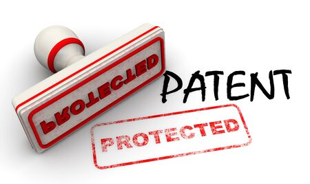 Patent protected. Seal and imprint Stockfoto