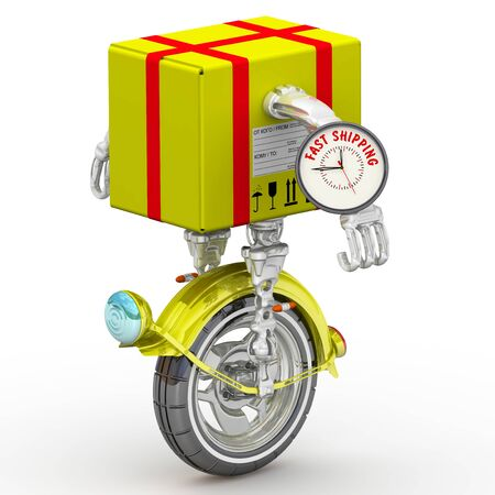 Fast shipping. Package as a robot on the monowheel Фото со стока