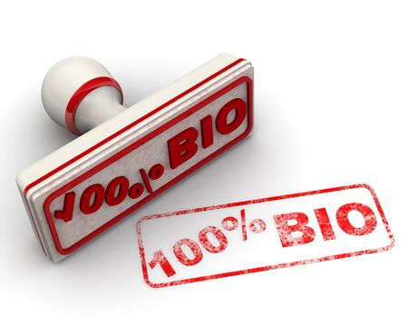 The seal with red text 100% BIO on white surface. Isolated. 3D Illustration